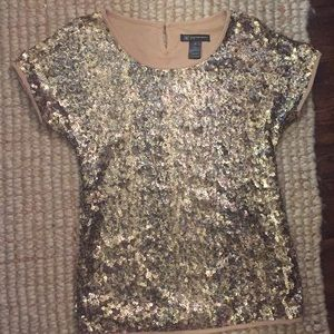 Gold sequin INC top